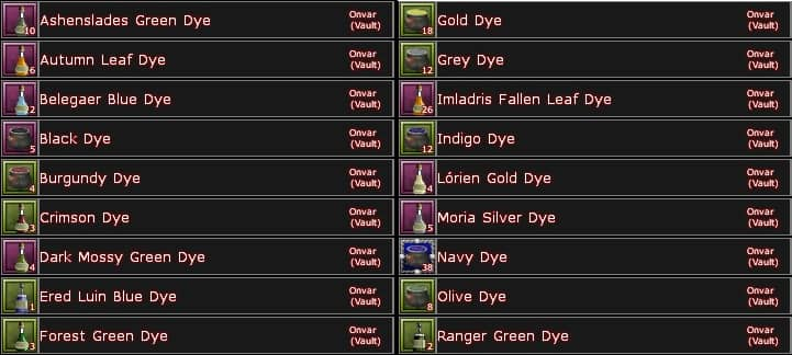Example Dye Colours in LOTRO