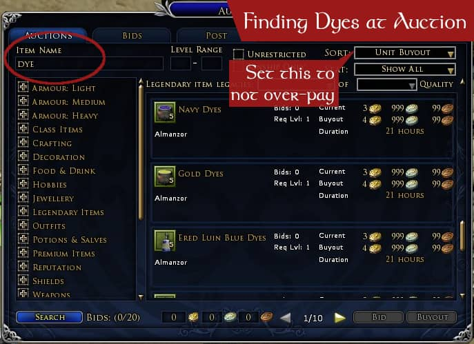 Finding Dyes at the Auction House