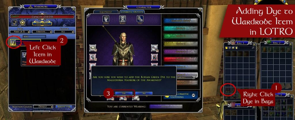 How to Add Dye to a Wardrobe Cosmetic in LOTRO