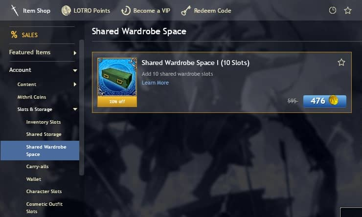 How to unlock Shared Wardrobe in the LOTRO Store