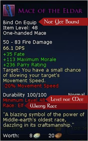 Some item restrictions on equipping a gear item when making a LOTRO Outfit