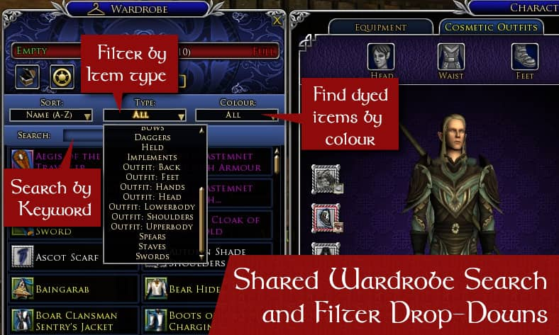 LOTRO Shared Wardrobe - Search and Filters