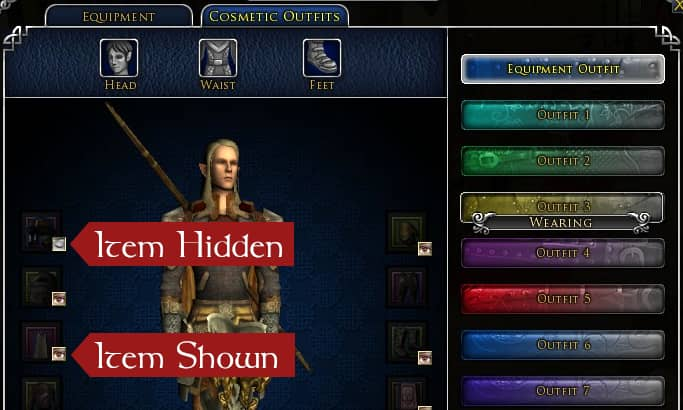 Showing and Hiding Gear Slots in the Equipment Outfit in LOTRO