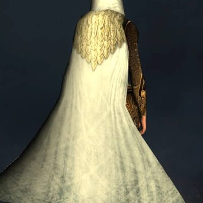 Hooded Autumn Leafmail Cloak - Back Cosmetic