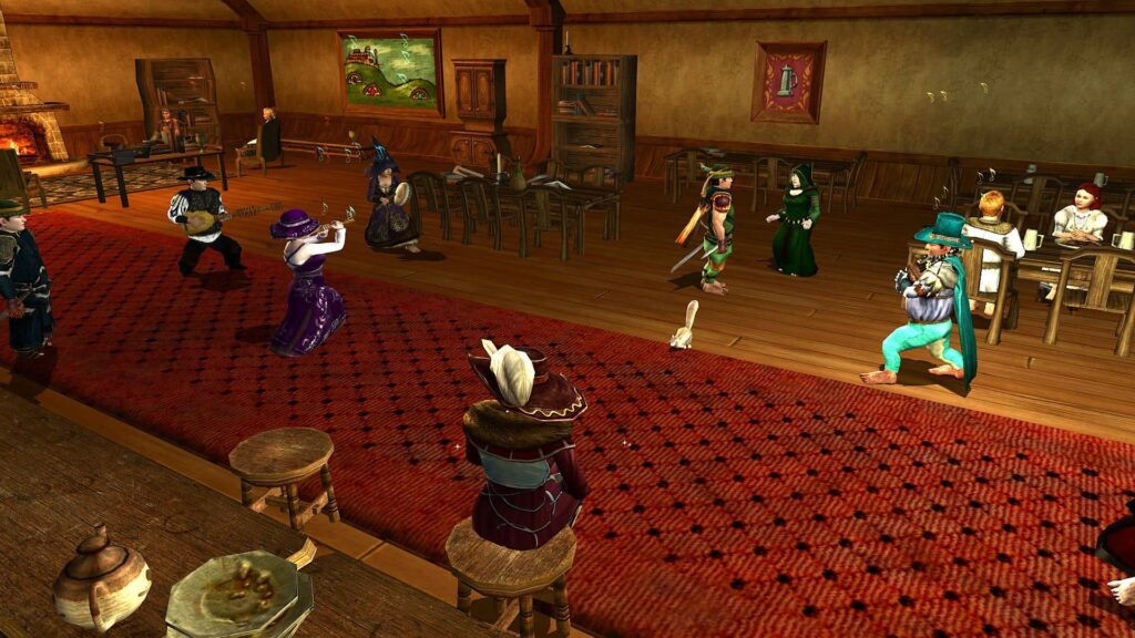 LOTRO players socialising in the Bird and Baby Inn