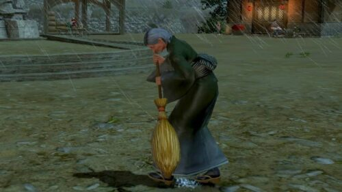 A woman sweeping outside, in the rain in Doma (FFXIV)