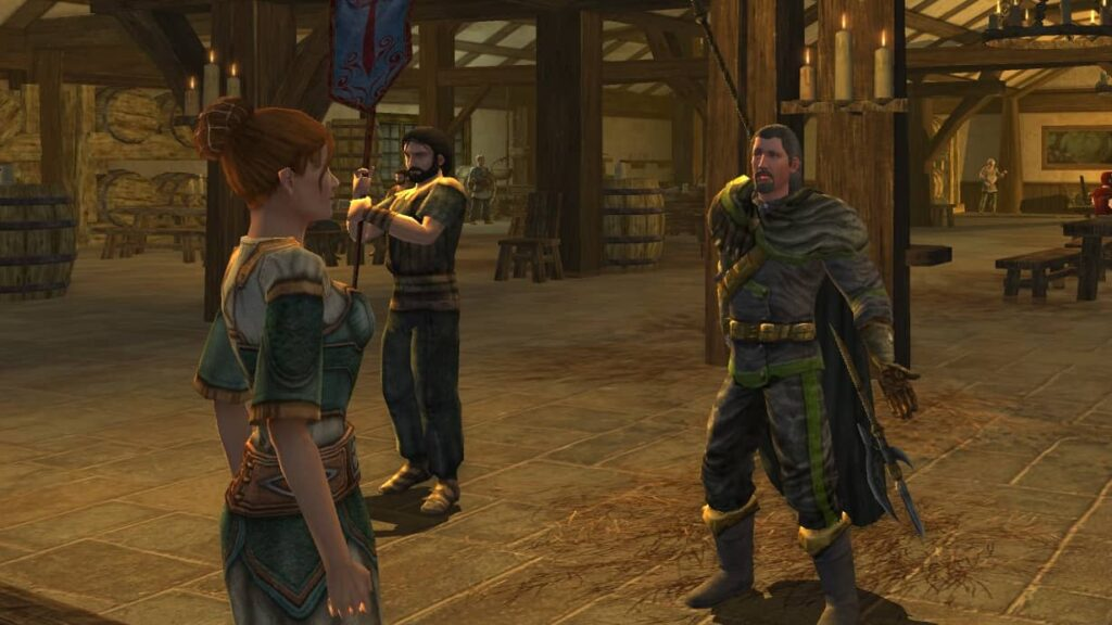 Faeladar and Reggie go speak to the Salve Merchant to aid his recovery.