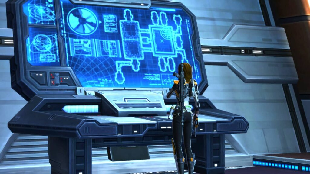 SWTOR Imperial Agent looks at huge monitor