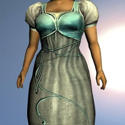 LOTRO Short-Sleeved Elven Dress - Anniversary Upper Body Cosmetic (Steel Tokens)