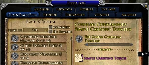 LOTRO Simple Carrying-Torch Consume Consumables Deed
