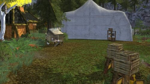Mushroom Tent, Beehives, Chicken Coops - example yard decorations for my Rohan House