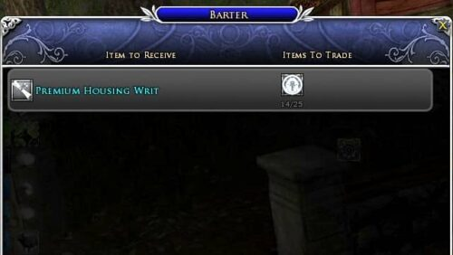 You can barter Mithril Coins for Premium Housing Writs