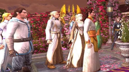 Celeborn and Galadriel sporting the Circlet of Lorien during Arwen and Aragorn's Wedding in LOTRO