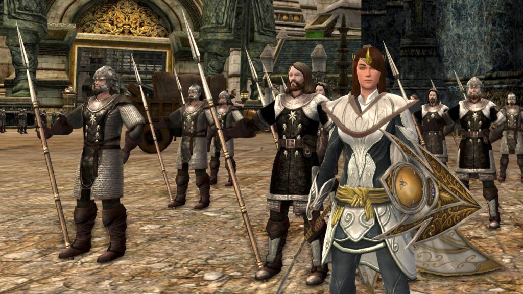 Glinmaethor in my Guardian of Light outfit with Soldiers of Gondor, LOTRO