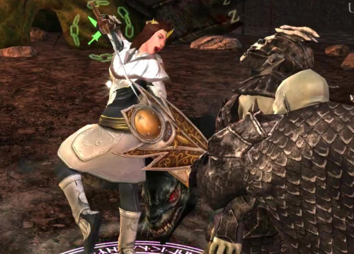 AoE spinning attack - Glinmaethor in this Guardian outfit against an Orc in Gondor