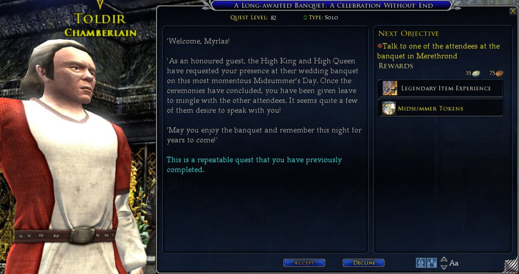 LOTRO A Long-Awaited Banquet - a Celebration Without End (Daily) Quest