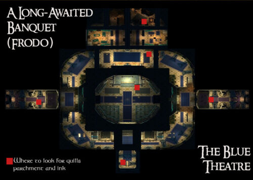Where to find Quills, Ink and Parchments (The Blue Theatre) - Frodo Baggins Banquet Quest