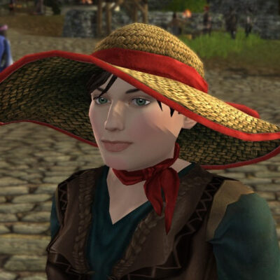 LOTRO Straw Sun Hat With Ribbon - Dyed Red