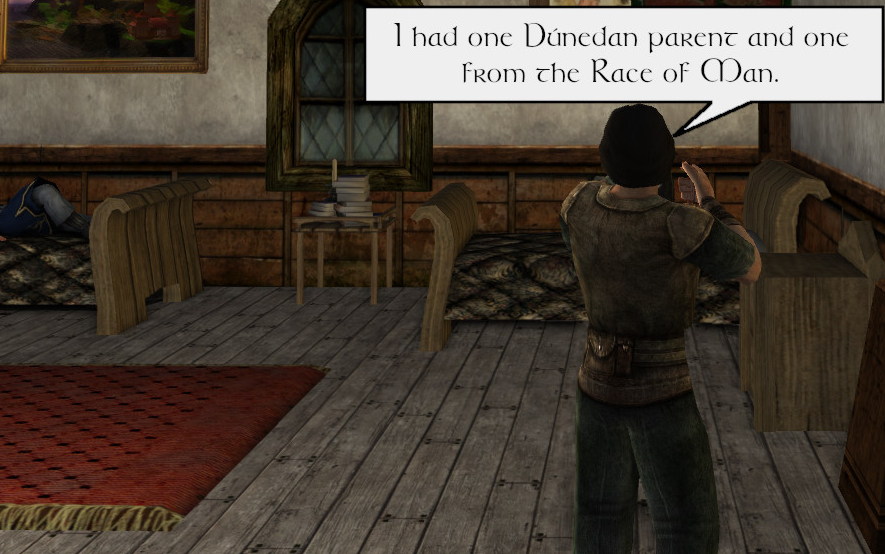 Reggie says he had one Dúnedan parent and one of the Race of Man
