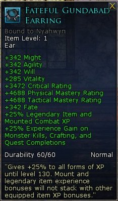 LOTRO Fateful Gundabad Earring - Equippable XP Booster