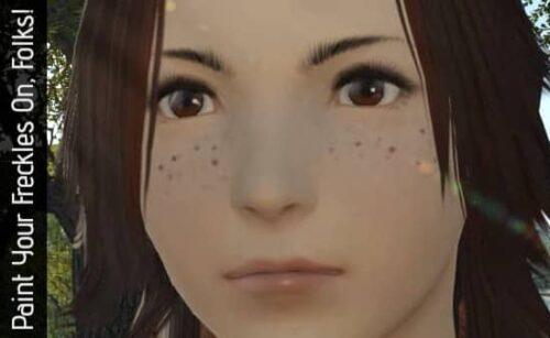 Freckles are only possible with Face Paints in FFXIV
