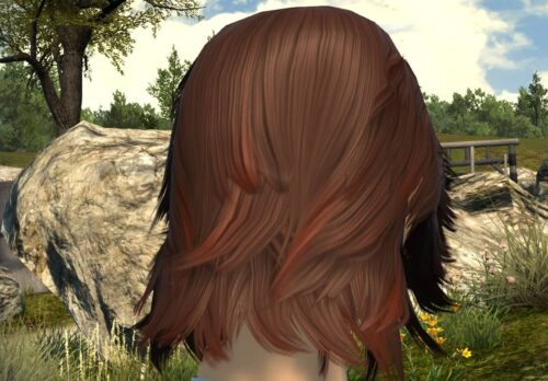 FFXIV shoulder length hair with two-tone browns