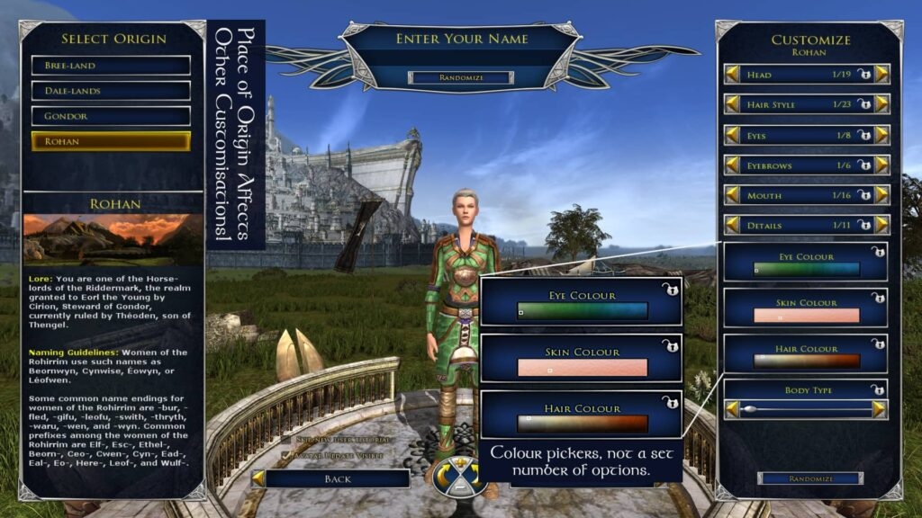 LOTRO Creating a Female Race of Man Character