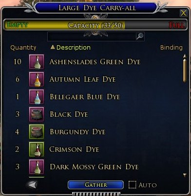 LOTRO Large Dye Carry All has 50 Slots