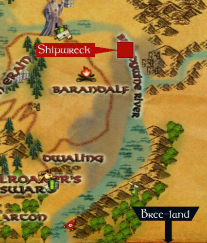 Map of where to find the shipwreck in Evendim up the Brandywine