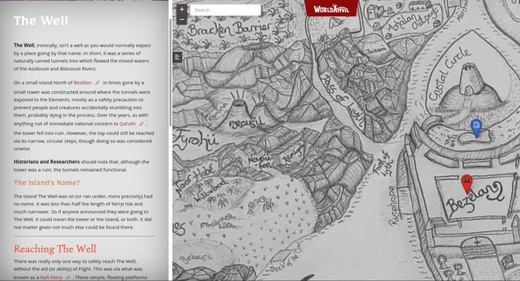 One of my WorldAnvil maps with an example article in the sidebar