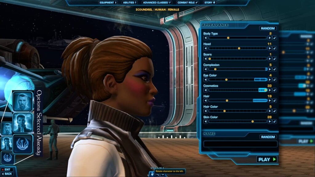 SWTOR Creating a new female Human Character