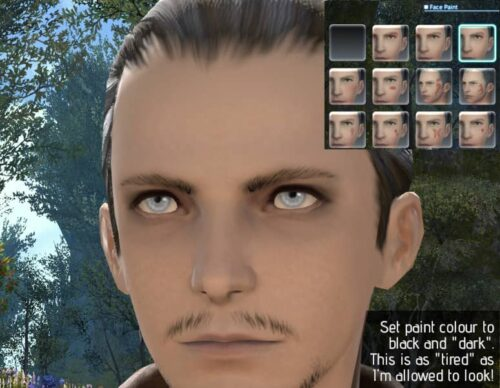 Trying to make dark, tired eyes in FFXIV Character Creation